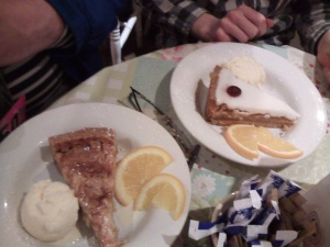 Enormous slices of Bakewell tart for Daddy and Prince
